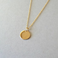 Dainty gold necklace, disc necklace, gold disc necklace, small gold necklace, coin necklace, simple coin necklace, Shiny or matte, gold fill