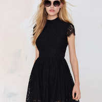 Black Sleeveless Skater Lace Dress