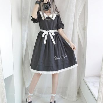 2018 Women Gothic Vintage Short Sleeve Black Pleated Dress With Belt Punk Harajuku Darkness Goth Lolita Lace White Tutu Dresses