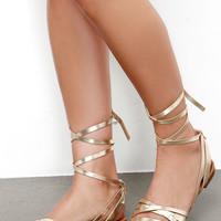 Desert Highness Champagne Gold Leg Wrap Sandals