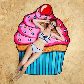 Large Pink and Blue Cupcake Beach Towel