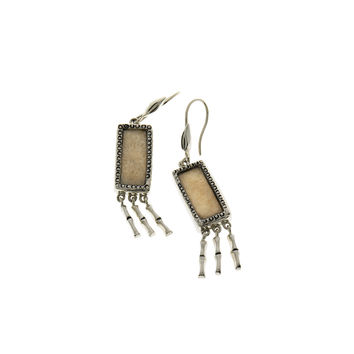 Fossil Bamboo Sterling Silver Fringe Drop Earring