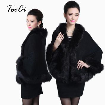 Faux Fur Coat Winter Black Sweater Cardigan Female Fox Fur Collar Poncho Cape Bridal Wool Shawl Cape
