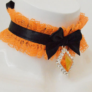 Kitten play collar - Ginger fox - ddlg little princess cute kawaii orange and black choker - with crystal pendant