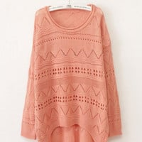 Pink Curved Hum Knit Holey Texture Long Sweater from Showmall