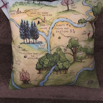 Decorative pillow/cushion map of the 100 acre wood/winnie the pooh multi size