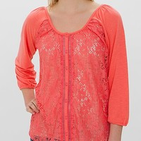 Women's Lace Front Shirt in Pink by Daytrip.