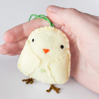 Easter Chick Decoration, stuffed chick plushie, fabric Easter ornament, cute stuffed animal, bird figurine, Easter door hanger, gift idea