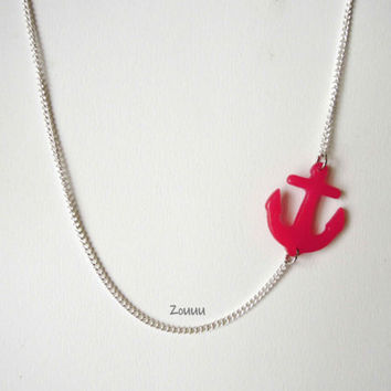 Pink Anchor Resin Necklace - Transparent Resin - Opaque Resin - Chain color - Long necklace - Gift - Funny