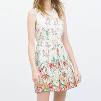 White Floral Print Zipper Back Sleeveless A-Line Dress