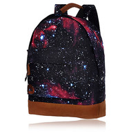 River Island MensBlack cosmic print MiPac backpack