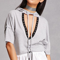Hooded Plunging Cutout Top