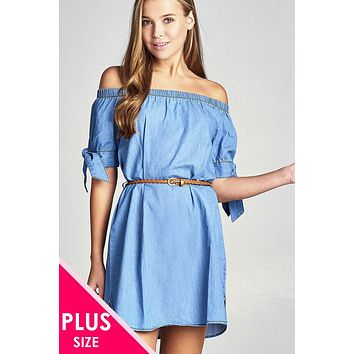 Plus size off the shoulder chambray 100% cotton dress