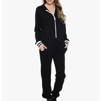 Black In The Zone Zip Up Hooded Jumper | $10.00 | Cheap Trendy JumpsuitsRompers Chic Discount Fashi