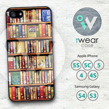 Bookshelf iPhone 4 Case,Book library iPhone 4 4g 4s Hard Case Rubber Case,Book Lovers cover skin case for iphone 4/4g/4s case