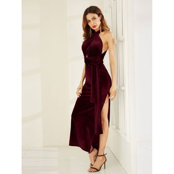 High Slit Velvet Convertible Dress BURGUNDY