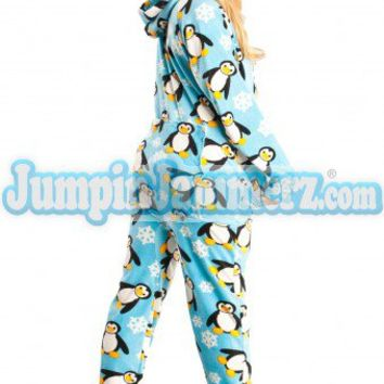 Penguins - Drop Seat Hoodie - Pajamas Footie PJs Onesuits One Piece Adult Pajamas - JumpinJammerz.com