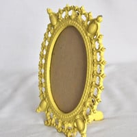 Vintage Yellow Cast Iron Picture Frame