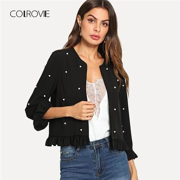 COLROVIE Black Office Lady Pearl Beaded Frill Hem Jacket Outer 2018 Autumn Ruffle Petal Sleeve Solid Elegant Fashion Women Coat