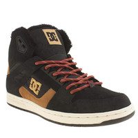 womens dc shoes black & brown rebound hi winter trainers