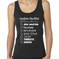 Fandom Checklist Supernatural, Dr. Who, Sherlock, Harry Potter, LOTR Fandom Ladies Tee