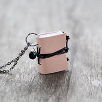 Leather miniature book necklace, mini book jewelry, book lover literature gift, small tiny pendant, eco friendly necklace - pastel pink