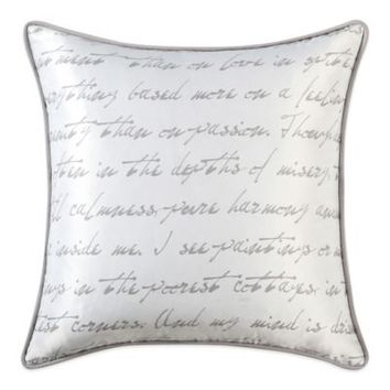 Vince Camuto® Provence Silky Satin Script Reversible Square Throw Pillow