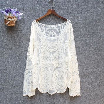 Plus size tops ladies pring summer sexy transparent beach cover up hollow out crochet lace shirt women long sleeve lace blouses