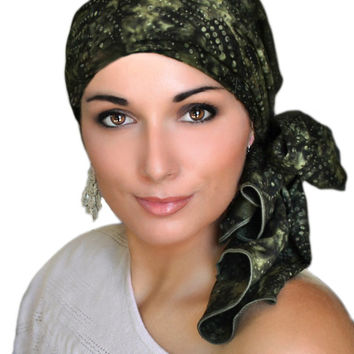 Rainforest Green Turban, Head Wrap, Alopecia Scarf, Chemo Hat & Scarf Set