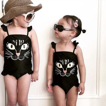 Summer Kids Baby Girls One Piece Print Cute Cat Bikini children's swimwear Swimsuit Bathing Suit #E0