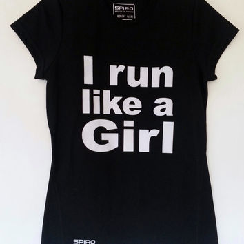 Feminist Black or Lime I Run Like A Girl Women's T-Shirt, Size 10 12 14 16 Running Workout Athlete Exercise Sport Political Breathable Top