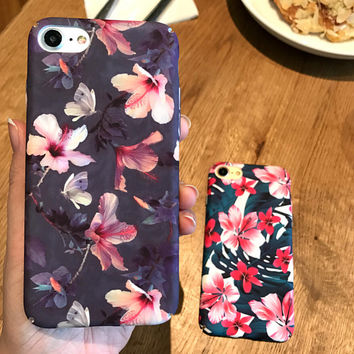 Handmade Painting Floral iPhone 7 7Plus & iPhone se 5s 6 6 Plus Best Protection Case Cover +Gift Box-111