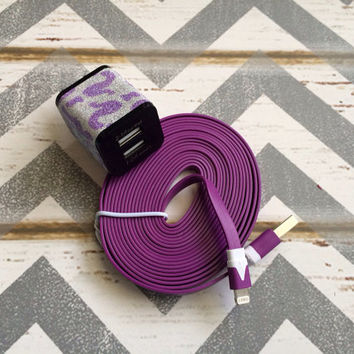 New Super Cute Purple Glitter Cheetah Print Dual USB Wall iphone Connector + 10ft Purple IPhone 5/5s/5c Cable Cord