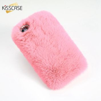 KISSCASE Rabbit Hair Phone Case For iPhone 6 6s Winter Rhinestone Fur Fluffy Touch Cases For iPhone 6 6s Plus Accessories Capa