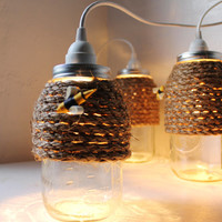 The Hive - Quart Size Mason Jar Pendant Light - UpCycled Handcrafted BootsNGus Lighting Fixture Wrapped in Rope Design