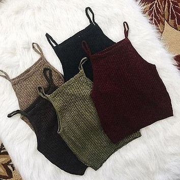 Fashion Summer Women Sleeveless Solid Color Square Collar knitted Vest Top Shirt Blouse Casual Slim Crop Tops Blouse