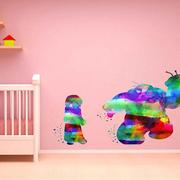 kcik2091 Full Color Wall decal Watercolor Lilo & Stitch Character Disney Sticker Disney children's room