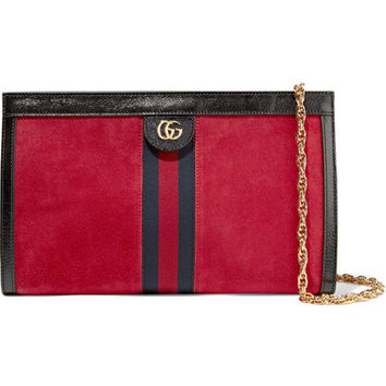 Gucci - Ophidia patent-leather trimmed suede shoulder bag