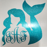 "3"", 4"" 5"" 8"" Mermaid Monogrammed Stickers with personalize initials"