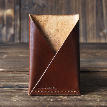 Leather Minimalist Wallet - folded Card Holder handmade, Card Wallet, Card Sleeve, slim card holder, Business Card, personalized #Brown