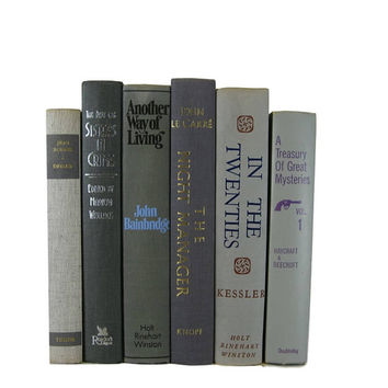 Grey Vintage Books by Color, Old Book Collection, Books for Decor, Old Books for Cheap