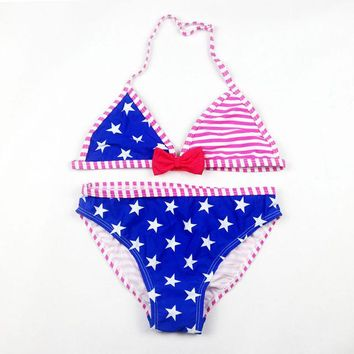 Baby Girls Cute Star Pattern Swimwear Children Split Two Pieces Swimsuit Girl Stripe Bikini Kids Biquini Summer Bathing Suit