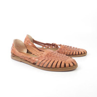 Brown Woven Sandals Vintage 1980s Honors Leather Huaraches Women's size 8