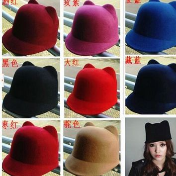 1pcs/lot Spring Women's Fashion Cat ears caps devil hat caps solid small fedoras Cashmere hat wool hat animal hats
