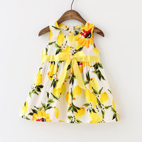 New Baby Girl Dress Lemon Dress Toddler Girls Summer Baby Clothing Sleeveless Baby Dress Floral Sundress