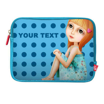 Personalized Bag Case Laptop Sleeve Case Pouch 12 13 15 MacBook Pro Retina Air iPad Sofia Blue Easy Custom