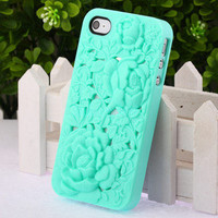 Fashion Cute 3D Sculpture Design Rose Flower Hard Case Cover for iPhone 4 4S 4G