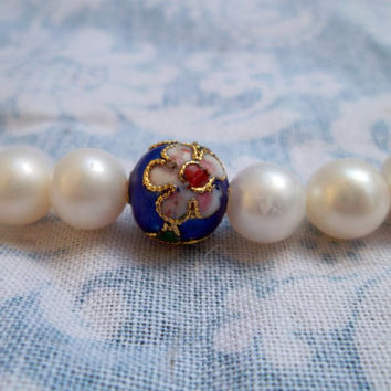 Vintage Genuine Pearl and Cloisonné Bead necklace