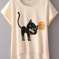 Champagne Cat Printed Crop Top