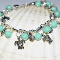 Aqua Tiffany Bue Ocean Beautiful Turtle Lovers Charm Bracelet